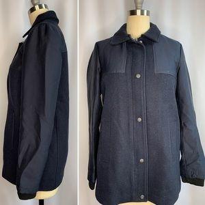 Zara Navy Blue Zip Up Coat